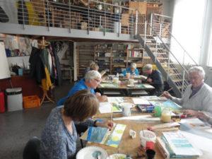 Impressie van de cursusruimte tekenen en schilderen in de Heerenveense school te Heerenveen