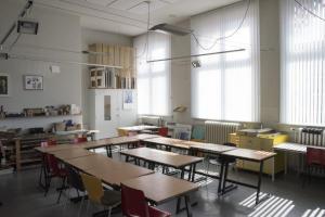 De cursusruimte van Kunsthuis de Vleugel in de Heerenveense school