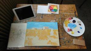 situatie in het schilderlokaal van de Heerenveense School Kunsthuis de Vleugel